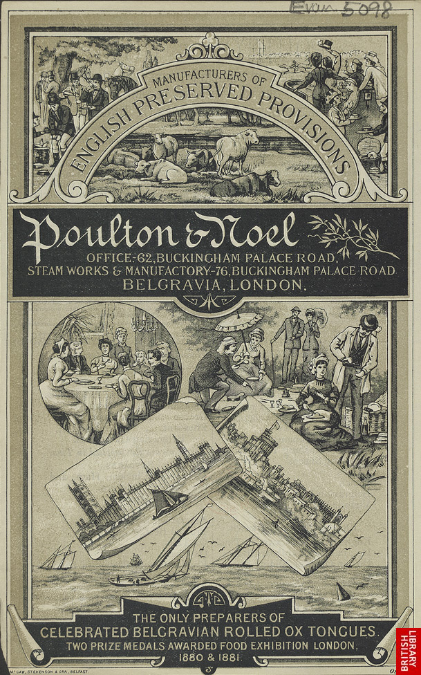 Advert for Poulton & Noel's ox tongues